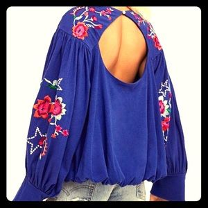 NWT Free People Lita Embroidered Cutout Top SM